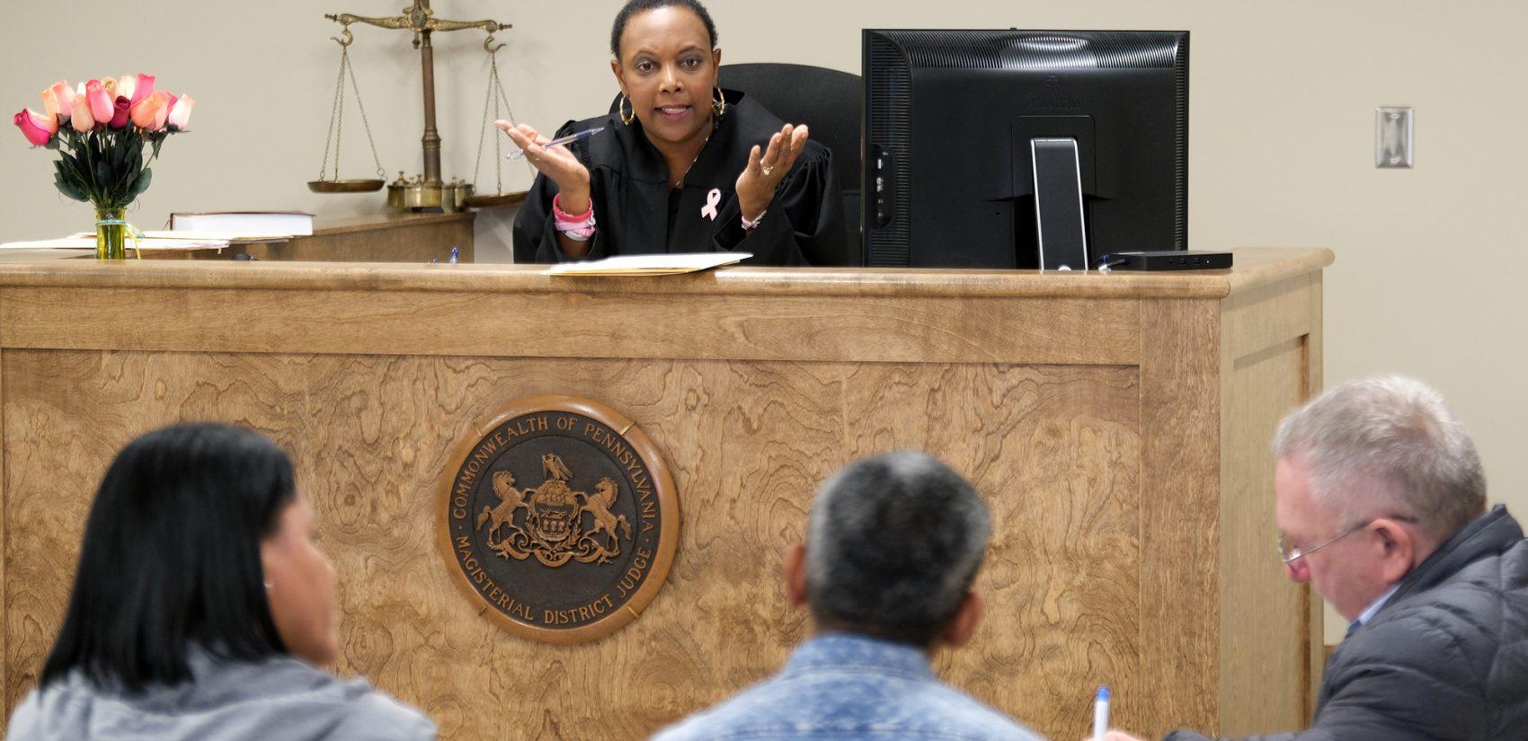 Judge Tonya Butler presides over a landlord-tenant case in Reading, Pennsylvania. (Matt Smith for Keystone Crossroads)