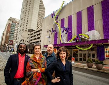 Wilma Theater's four co-artistic directors pose in the middle of South Broad Street, across from the theater. From left: James Ijames, Blanka Zizka, Yury Urnov and Morgan Green. (Photo courtesy of Wide Eyed Studio)