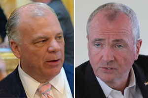 Gov. Phil Murphy, right, and Senate President Steve Sweeney are at odds over allowing some districts to fill school funding gap by going over 2% property tax cap. (NJ Spotlight)
