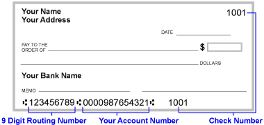 Sample check with bank routing and account number