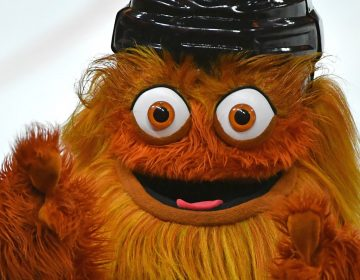 Mar 19, 2019; Philadelphia, PA, USA; Gritty, the Philadelphia Flyers mascot, against the Montreal Canadiens during the third period at Wells Fargo Center. Mandatory Credit: Eric Hartline-USA TODAY Sports