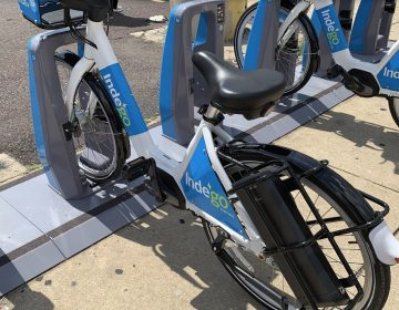 Indego electric bikes were differentiated by their white paint jobsMARK HENNINGER / IMAGIC DIGITAL