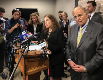 Former Pa. Gov. Ed Rendell and Safehouse VP Ronda Goldfein (center) announce plans to open a supervised injection site in South Philadelphia (Michaela Winberg/WHYY)
