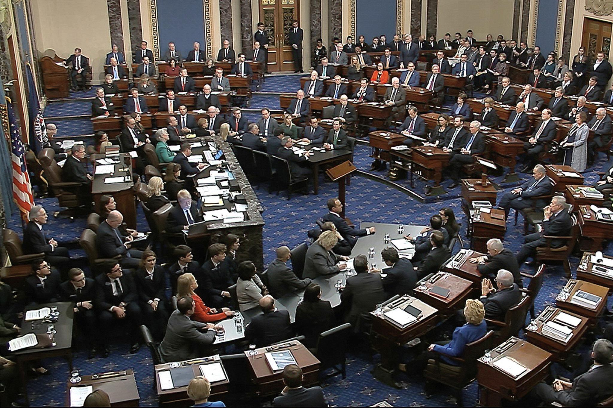 Senators vote on the first article of impeachment in Trump's 2020 trial
