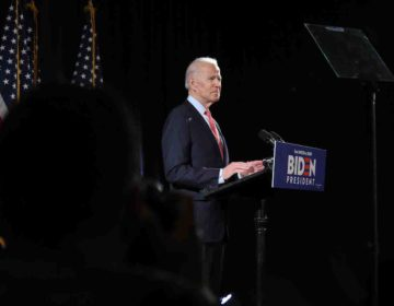 Presidential candidate Joe Biden speaks at the Hotel DuPont about his campaign and the impact of coronavirus on Thursday, March 11, 2020 in Wilmington, Del. (Saquan Stimpson for WHYY)