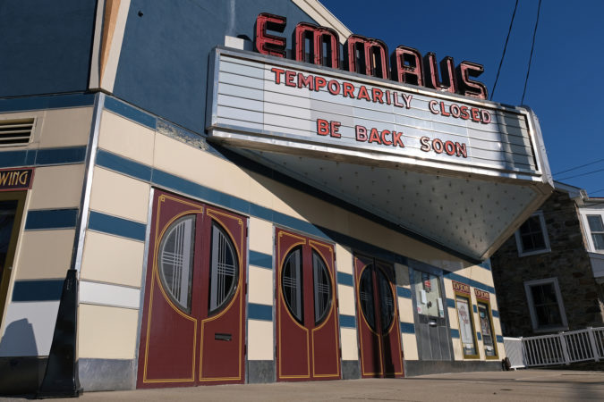 The shuttered Emmaus Theatre. (Matt Smith for Keystone Crossroads)