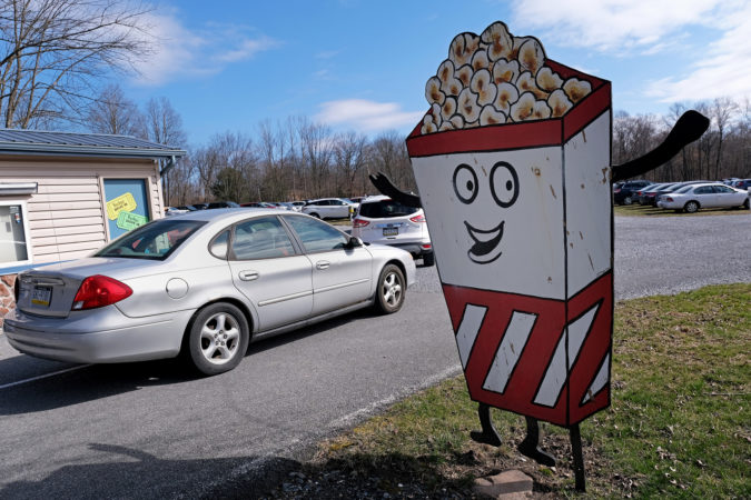 Cars arrive for church service at Becky's Drive-In in Walnutport, Pennsylvania. (Matt Smith for Keystone Crossroads)