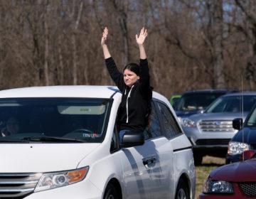 A parishioner during Bethany Wesleyan Church's Sunday worship service at Becky's Drive-In in Walnutport, Pennsylvania. (Matt Smith for Keystone Crossroads)
