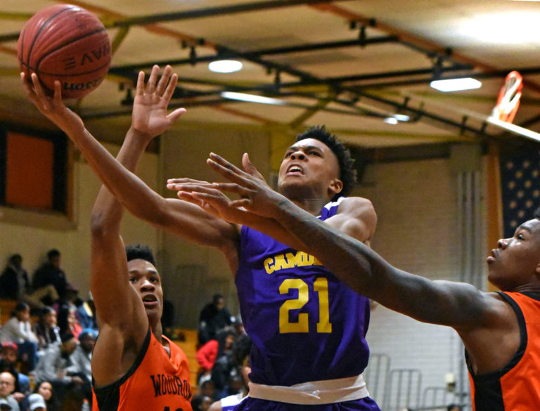 On January 21, 2020, freshman Panther D.J. Wagner, whose father and grandfather both played for Camden High and went on to the NBA, goes into action against Woodrow Wilson High School. (April Saul for WHYY)