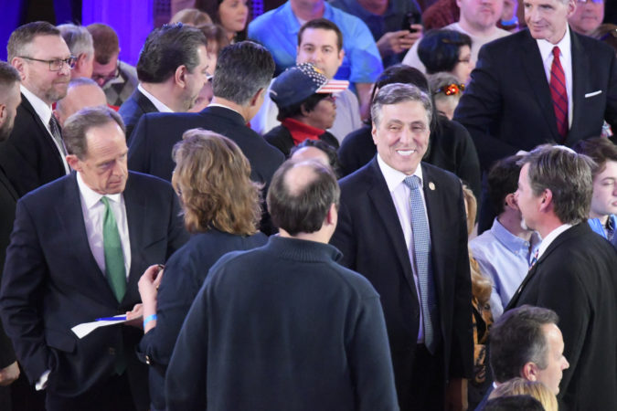 U.S. Sen. Pat Toomey and former U.S. Congressman Lou Barletta were among the prominent GOP attendees at the town hall in Scranton. (Bastiaan Slabbers for Keystone Crossroads)