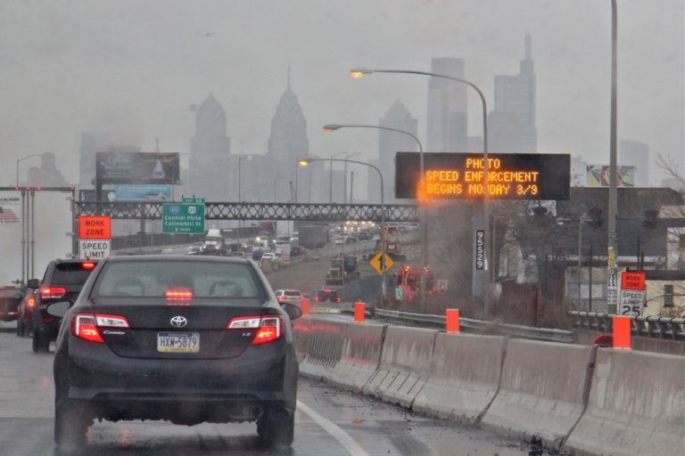 Motorists on I-95 in Philadelphia get notification that work zone speed limits will be enforced. (Emma Lee/WHYY)