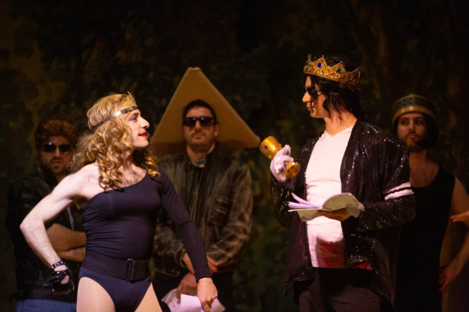 Queen Vashti, portrayed by Alon Hafri, interacts with King of Popasuerus. (Emily Cohen for WHYY)