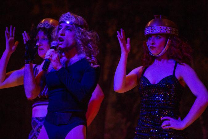 Queen Vashti, portrayed by Alon Hafri, sings a parody of