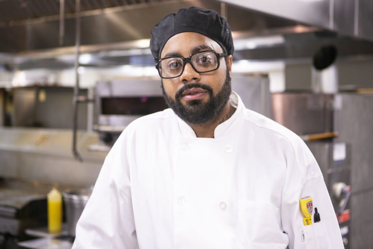Chef Terrick Hubbard poses for a picture at a kitchen in Camden on Monday, March 9, 2020. (Miguel Martinez for WHYY)