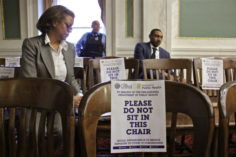 At a City Council meeting, attendees were told to use every other chair to reduce the chances of exposure to coronavirus. (Emma Lee/WHYY)