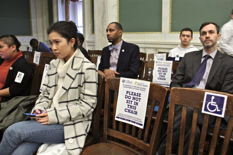 At Philadelphia City Council meeting, attendees were tod to use every other chair to reduce the chances of exposure to coronavirus. (Emma Lee/WHYY)