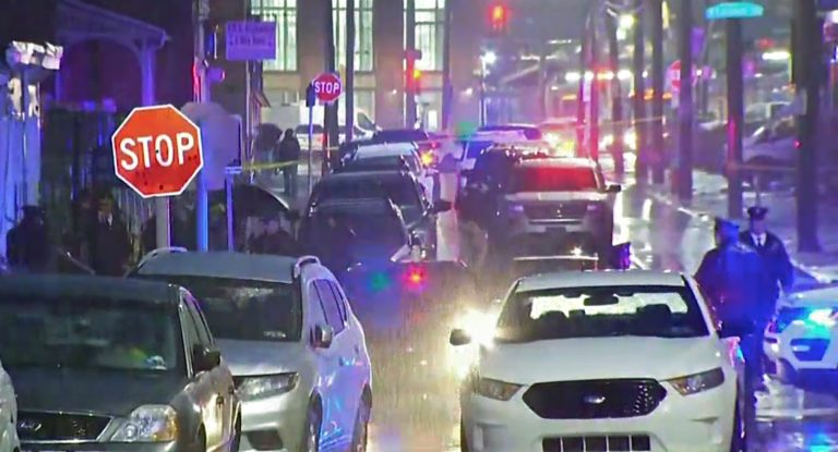 Police converge on Bridge Street in Philadelphia's Frankford neighborhood, where a police officer was shot and killed while serving a warrant. (NBC10)
