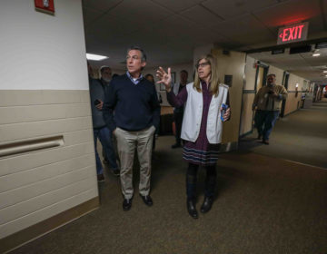 Governor John Carney tours State Health Operations Center with Director of Division of Public Health Dr. Karyl Thomas Rattay on Monday, March 16, 2020, at State Health Operations Center in Smyrna, Del. (Saquan Stimpson for WHYY)