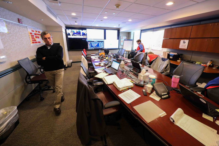 Governor John Carney visits the State Health Operations Center on Monday. March 16, 2020, in Smyrna, Del. (Saquan Stimpson for WHYY)