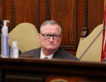 Philadelphia Mayor Jim Kenney listens during the daily coronavirus update at City Hall. (Emma Lee/WHYY)