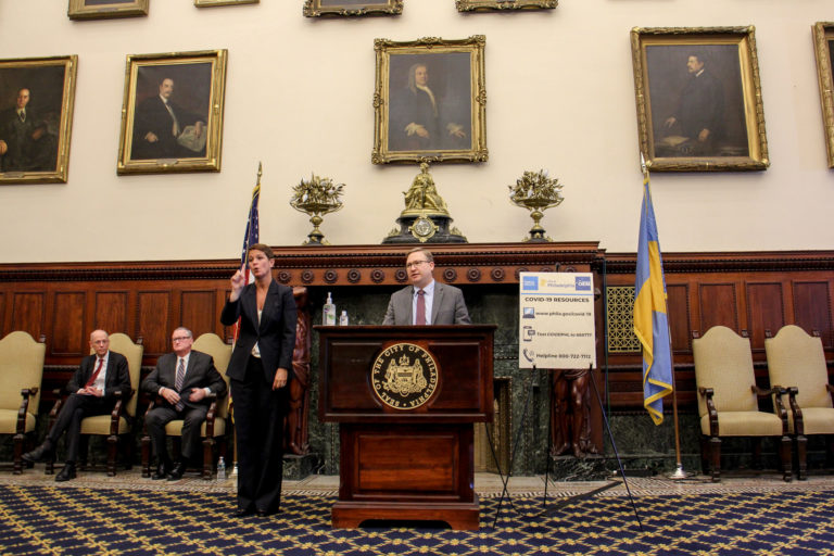 Philadelphia Managing Director Brian Abernathy speaks during the daily coronavirus update at City Hall, joined by (from left) Health Commissioner Thomas Farley and Mayor Jim Kenney. (Emma Lee/WHYY)