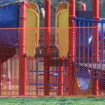Playground equipment at Glasgow Park is fenced off after county executive Matt Meyer issued orders to close playgrounds to prevent the spread of COVID-19 during a stay-at-home order issued by the governor of Delaware Tuesday. March 24, 2020. (Saquan Stimpson for WHYY)