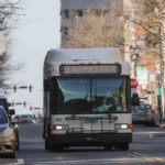 A DART bus travels down Market Street in Wilmington, Del., on a limited schedule on Thursday, March 26, 2020, during the stay-at-home order issued by Delaware Governor John Carney earlier in the week. (Saquan Stimpson for WHYY)