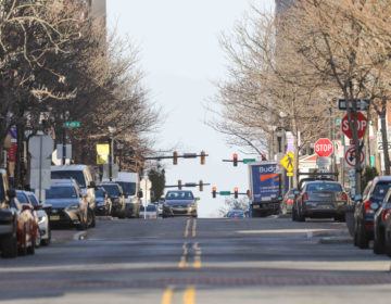 Market Street is seen with minimal activity on Thursday March 26, 2020, in Wilmington, Del. (Saquan Stimpson for WHYY)