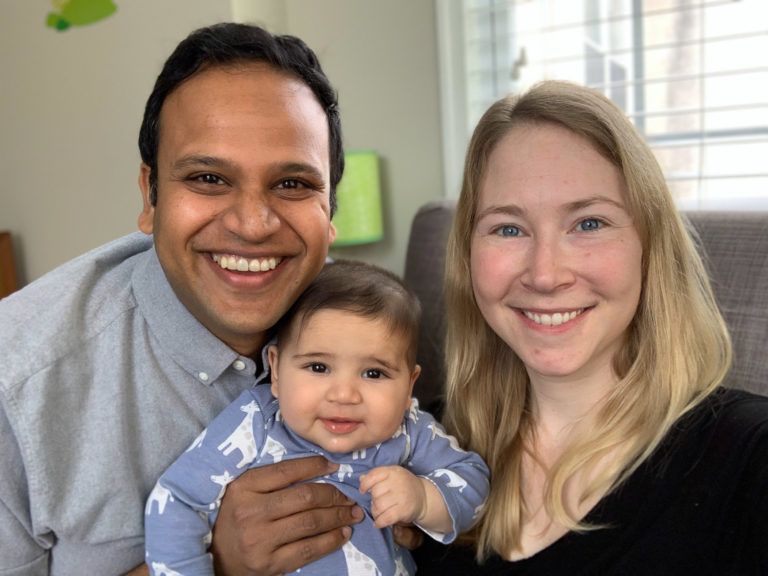 Austin Kilaru with his wife, Katie Auriemma, and their 5-month-old son Owen. Kilaru is an emergency room  physician and Auriemma is an ICU doctor, both at Penn. They both worry about how they will care for Owen if they get infected with coronavirus. (Photo courtesy of Austin Kilaru)