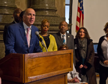 City council person Mark Squilla speaks at a press conference with other local officials about Senate Bill 933 which would prohibit supervised infection sites unless they are authorized by local governments. (Kimberly Paynter/WHYY)