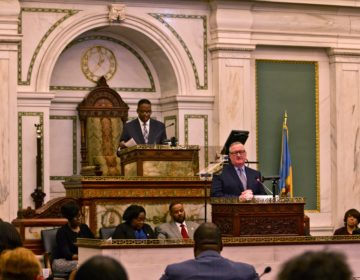Philadelphia Mayor Jim Kenney delivers the 2020 budget address in council chambers. (Kimberly Paynter/WHYY)