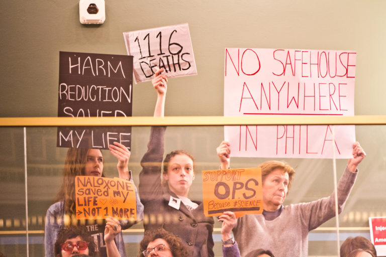 People in support of and opposed to Philadelphia's proposed supervised injection site protest in City Council. (Kimberly Paynter/WHYY)