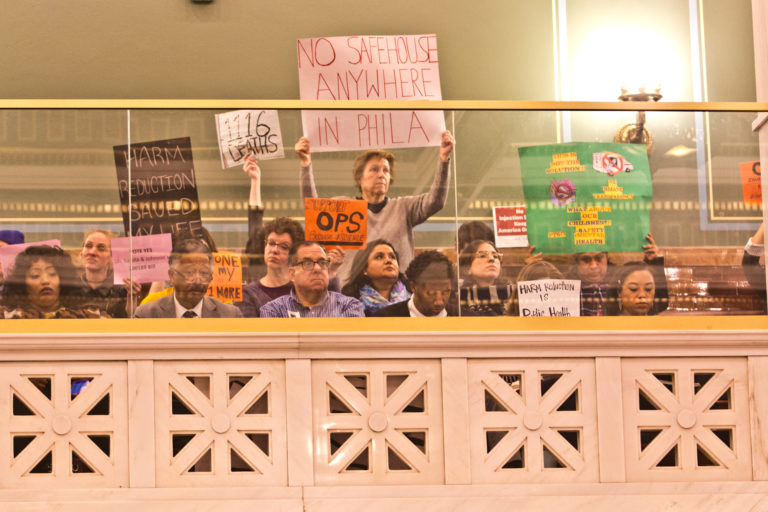 People in support of and opposed to Philadelphia's Safehouse injection site protested in City Council on March 5, 2020. (Kimberly Paynter/WHYY)