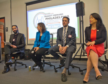 Transit Forward Philadelphia organizer Yasha Zarrinkelk (left) hosted a panel discussion with SEPTA General Manager Leslie Richards, (second from left) Chris Puchalsky, director of policy and strategic initiatives for Philadelphia's Office of Transportation, Infrastructure and Sustainability, (second from right) and City Councilmember Helen Gym at Azavea. (Kimberly Paynter/WHYY)