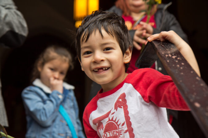 Jeison, 4, son of Suyapa Reyes, smiles as his family was free to leave sanctuary for the first time since September 2018. (Kimberly Paynter/WHYY)