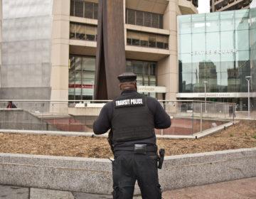 Transit police near City Hall. (Kimberly Paynter/WHYY)