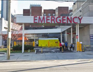 COVID-19 testing facility at Penn Presbyterian Hospital in Philadelphia. (Kimberly Paynter/WHYY)