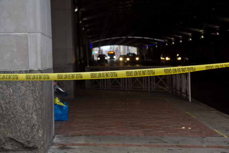 The City of Philadelphia cleared the encampments of people living in tunnels beneath the Pennsylvania Convention Center Monday. (Kimberly Paynter/WHYY)