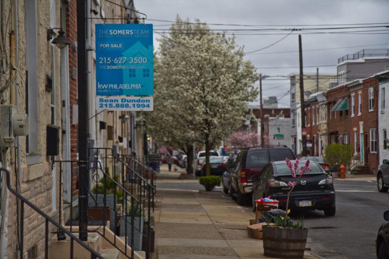 A residential property for sale on Tulip Street in Philadelphia's Fishtown neighborhood. (Kimberly Paynter/WHYY)