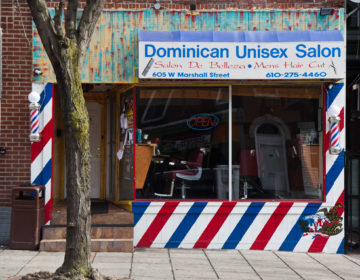 A barbershop in Norristown is closed due to the coronavirus pandemic.