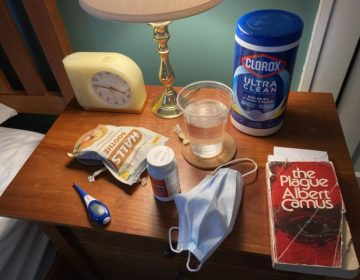 Dean Lindsey shared a picture on Facebook on March 21, 2020 of the items on his bedside table in quarantine in his State College house. DEAN LINDSEY