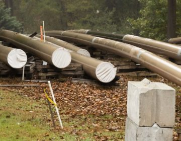 In this Tuesday, Oct. 22, 2019 photo, pipes lay along a construction site on the Mariner East pipeline in a residential neighborhood in Exton, Pa. (Matt Rourke / AP Photo)