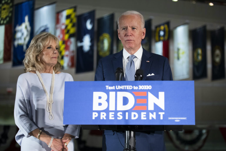 Democratic presidential candidate former Vice President Joe Biden, accompanied by his wife Jill, speaks to members of the press at the National Constitution Center in Philadelphia, Tuesday, March 10, 2020. (Matt Rourke/AP Photo)
