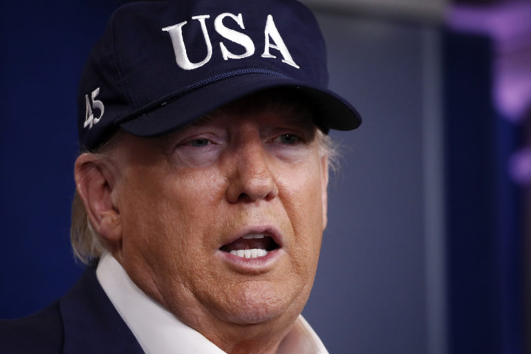 President Donald Trump speaks during briefing on coronavirus in the Brady press briefing room at the White House, Saturday, March 14, 2020, in Washington. (Alex Brandon/AP Photo)