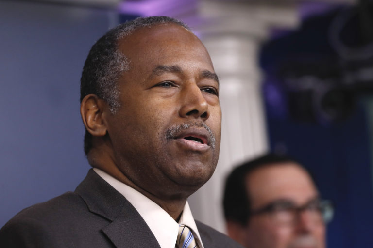 Housing and Urban Development Secretary Ben Carson speaks during a briefing on coronavirus in the Brady press briefing room at the White House, Saturday, March 14, 2020, in Washington. (AP Photo/Alex Brandon)