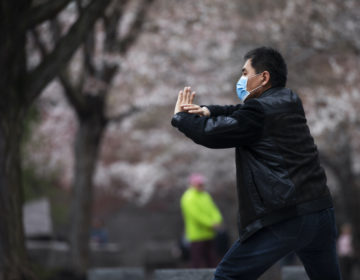 Zhili Sun, practices tai chi by blooming cherry trees while wearing a mask  along the tidal basin in Washington. (Jacquelyn Martin/AP Photo)