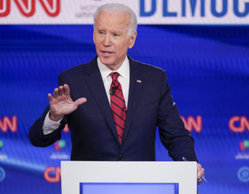 Former Vice President Joe Biden, participates in a Democratic presidential primary debate at CNN Studios in Washington, Sunday, March 15, 2020. (Evan Vucci/AP Photo)