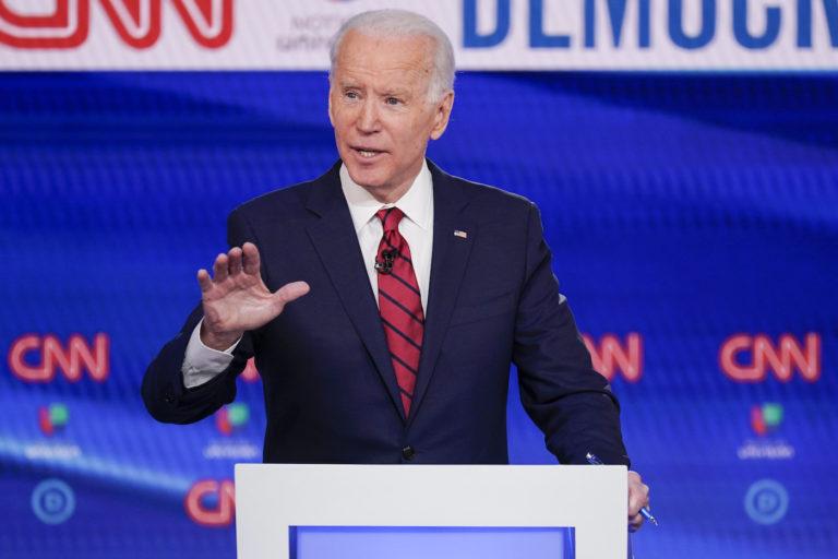 Former Vice President Joe Biden, participates in a Democratic presidential primary debate at CNN Studios in Washington, Sunday, March 15, 2020. (Evan Vucci/AP Photo)