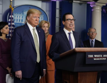 Treasury Secretary Steven Mnuchin speaks during a press briefing with the coronavirus task force, at the White House, Tuesday, March 17, 2020, in Washington, as President Donald Trump looks on. (Evan Vucci/AP Photo)