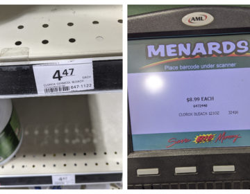 This combination of March 11, 2020 photos made by investigators with the Michigan Attorney General's Office shows a $4.47 shelf price sticker for a gallon of Clorox bleach and $8.99 on a price scanner for the same item at a Menards store in Jackson, Mich. (Michigan Attorney General's Office via AP)
